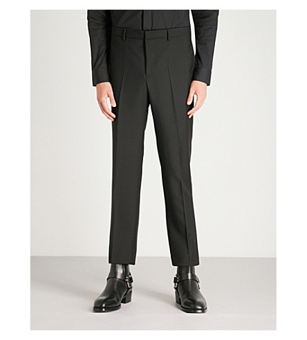 GIVENCHY trousers and tapered Slim Black blend wool fit mohair SxSO4HZ