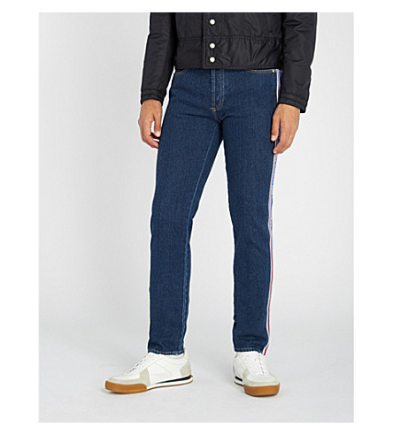 GIVENCHY Logo side-stripe slim-fit tapered jeans (Blue