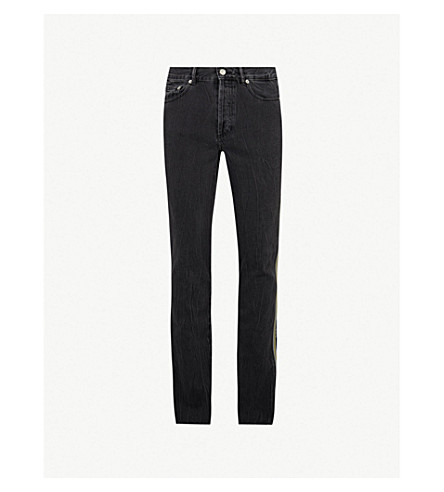 GIVENCHY Faded side-stripe slim-fit tapered jeans (Black