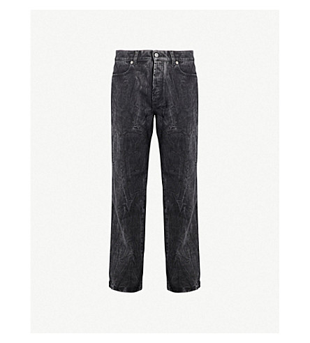 GIVENCHY Distressed regular-fit straight jeans (Dark grey