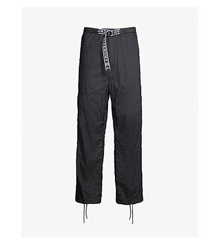 GIVENCHY Logo-print belted shell track pants (Black