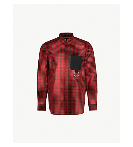 GIVENCHY Checked regular-fit cotton shirt (Black red