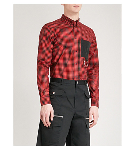 GIVENCHY Checked regular-fit cotton shirt (Black+red