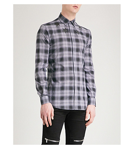 GIVENCHY Star-motif checked slim-fit cotton shirt (Grey+black