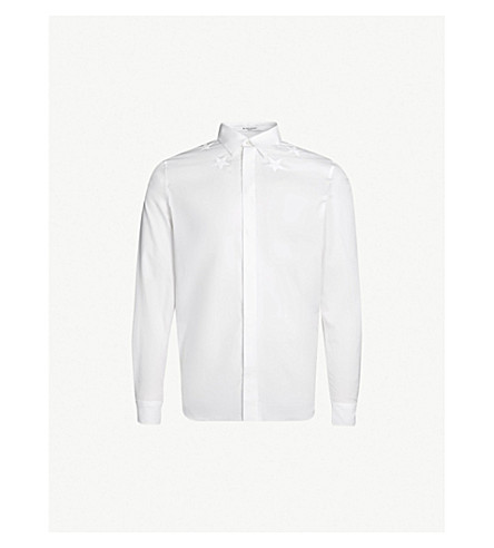 GIVENCHY Star-embroidered slim-fit cotton shirt (White