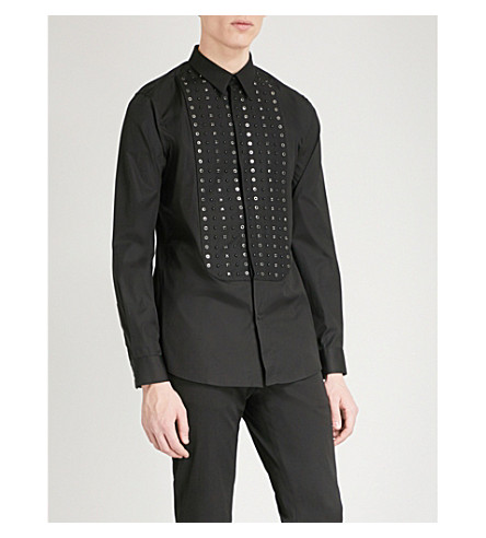 GIVENCHY Studded slim-fit cotton shirt (Black
