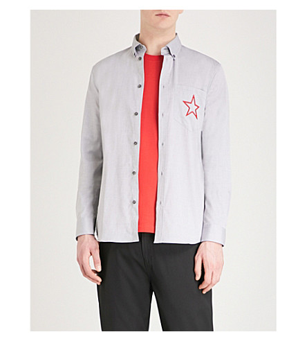 GIVENCHY Star embroidered slim-fit cotton shirt (Grey