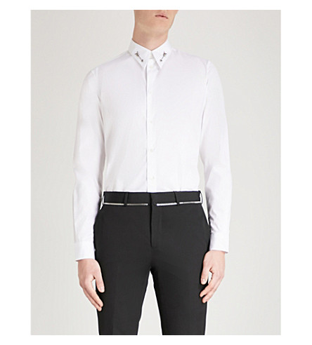 GIVENCHY Arrow-detail slim-fit cotton shirt White Clearance Affordable Official Site x9xsBBi