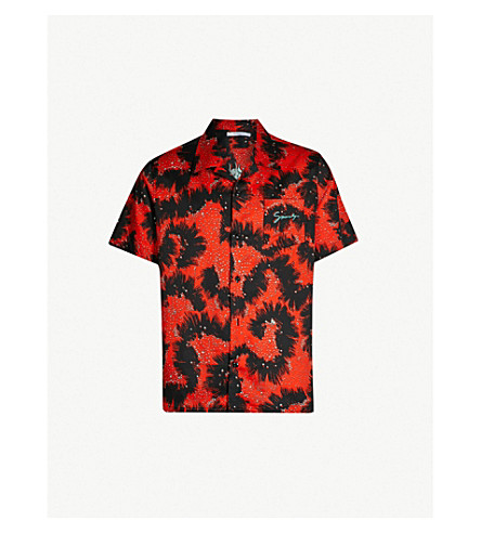 GIVENCHY Sea Creatures-print relaxed-fit cotton shirt (Black red
