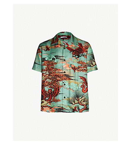 GIVENCHY Dragon-print relaxed-fit silk-twill shirt (Multi
