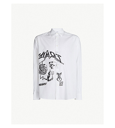 GIVENCHY Illustrated slim-fit cotton shirt (White