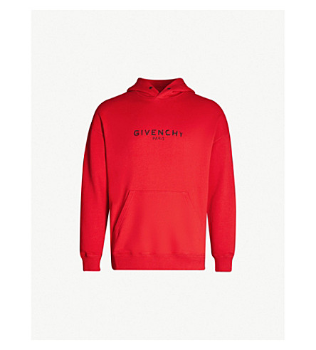 GIVENCHY Distressed logo-print cotton-jersey hoody (Bright red