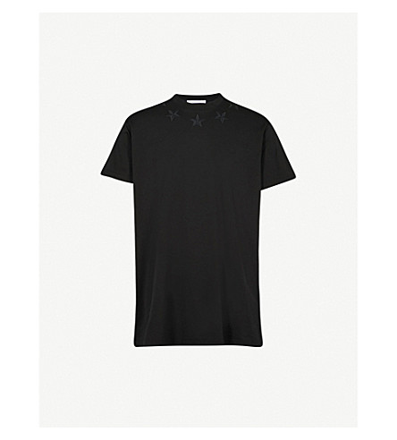 GIVENCHY Star appliqué cotton-jersey T-shirt (Black+black