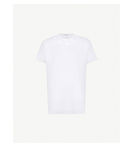 GIVENCHY Star appliqué cotton-jersey T-shirt (White