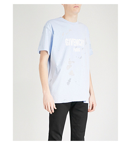 GIVENCHY Devoré cotton-jersey T-shirt (Blue