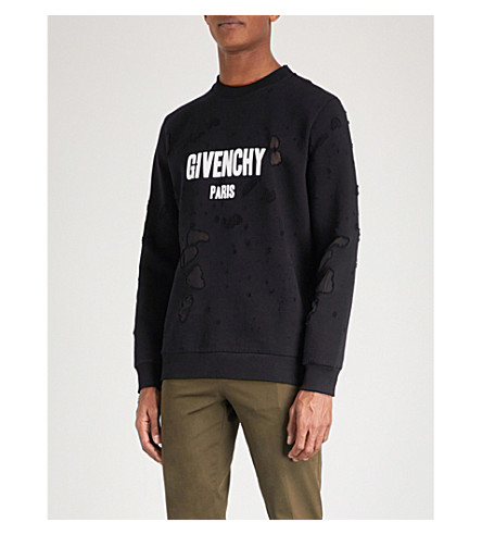 GIVENCHY Logo distressed cotton-jersey sweatshirt (Blk