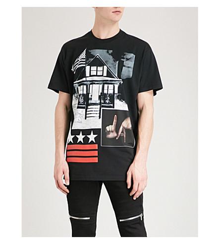 GIVENCHY LA-print cotton-jersey T-shirt (Black