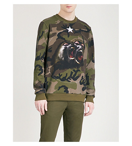 GIVENCHY Camo-print cotton-jersey sweatshirt (Green
