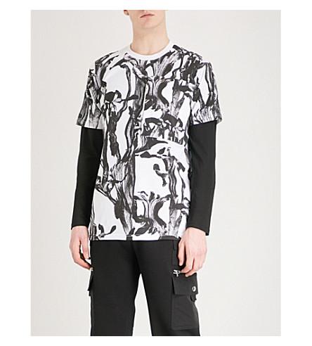 GIVENCHY Iris-print cotton-jersey T-shirt (White+black