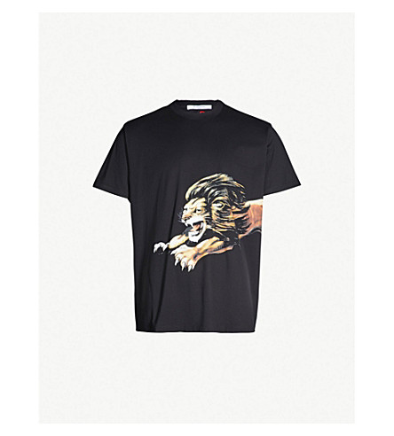 GIVENCHY Lion-print cotton-jersey T-shirt (Black