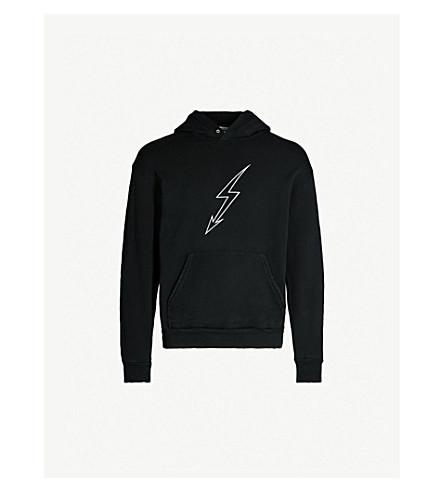 GIVENCHY Lightning bolt-print cotton-jersey hoody (Black