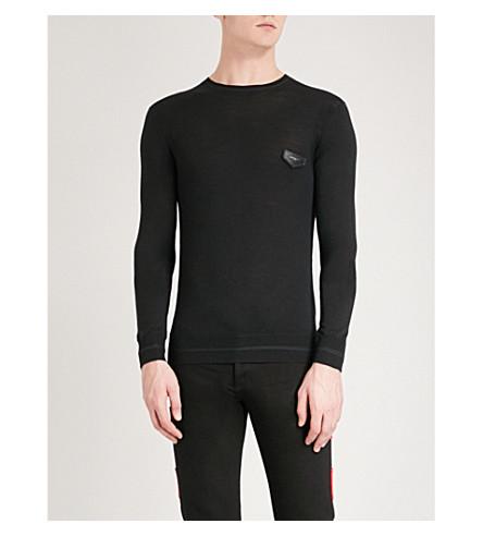 GIVENCHY Logo-tab wool jumper (Black
