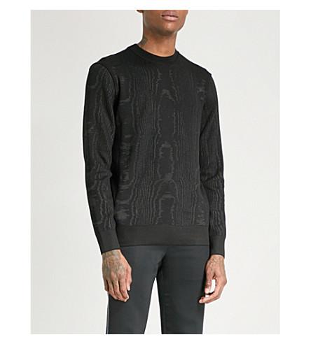GIVENCHY Moiré-effect cotton-blend jumper (Black