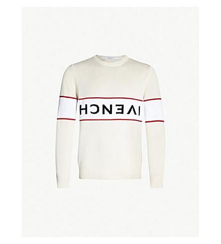 GIVENCHY Logo-intarsia cotton-knit jumper (Off white