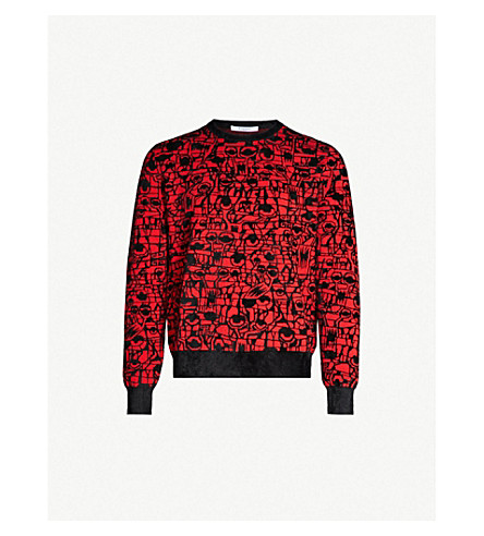 GIVENCHY Geometric-intarsia cotton-blend sweater (Black red