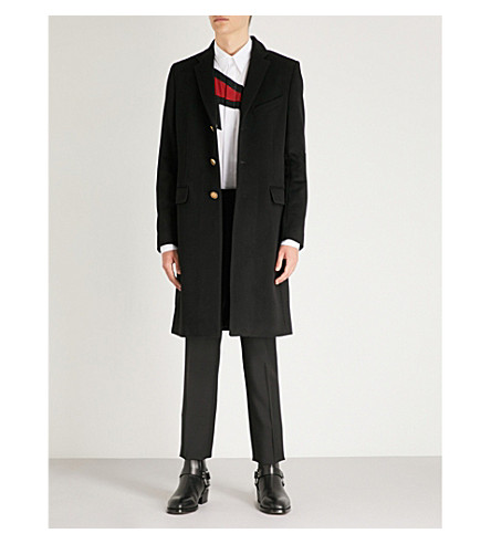 blend overcoat Black GIVENCHY and GIVENCHY Single breasted wool wool cashmere Single breasted Hx4qw41zC