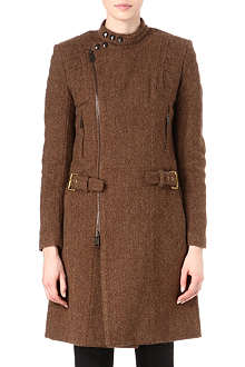 RALPH LAUREN Tweed biker coat