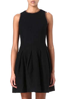 RALPH LAUREN Leather trim wool dress