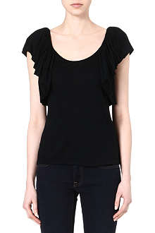 RALPH LAUREN Ruffled jersey top