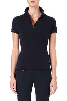 RALPH LAUREN Leather-trimmed slim-fit polo shirt