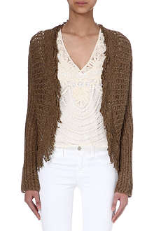 RALPH LAUREN Fringed mulberry silk cardigan