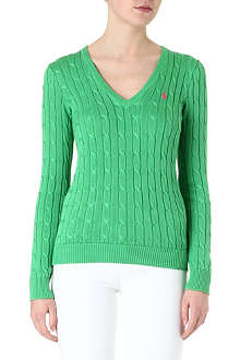 RALPH LAUREN V-neck cable-knit jumper