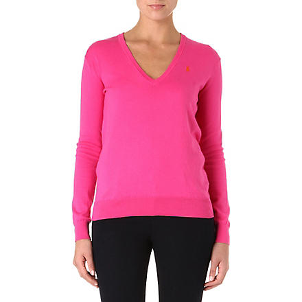 RALPH LAUREN Cotton-blend v-neck jumper (Pink