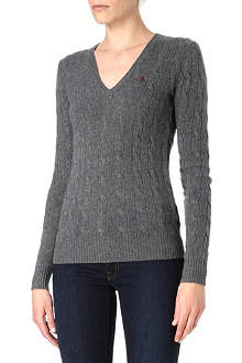 RALPH LAUREN V-neck cable knitted jumper