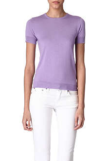 RALPH LAUREN Knitted silk-cashmere top