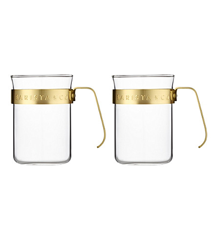BARISTA & CO Gold framed cups set of two 220ml