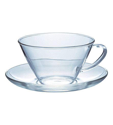 HARIO Glass tea cup and saucer 230ml
