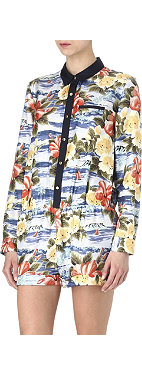 JUICY COUTURE Maui-print silk playsuit