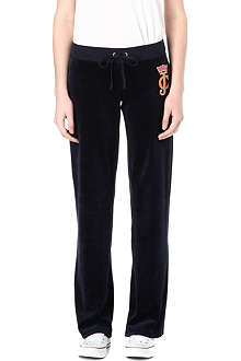 JUICY COUTURE Crown cameo velour jogging bottoms