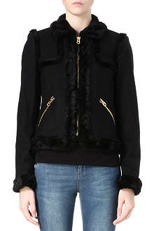 JUICY COUTURE Faux-fur wool melton coat
