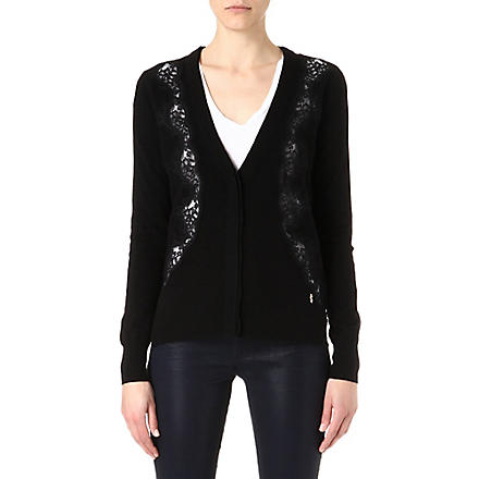 JUICY COUTURE Lace-detailed cardigan (Black