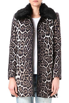JUICY COUTURE Leopard-print faux-fur-collar coat