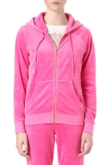 JUICY COUTURE Jewel-logo relaxed velour hoody