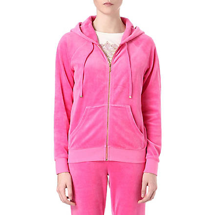 JUICY COUTURE Jewel-logo relaxed velour hoody (Highlighter