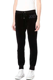 JUICY COUTURE Jewel-logo slim velour jogging bottoms