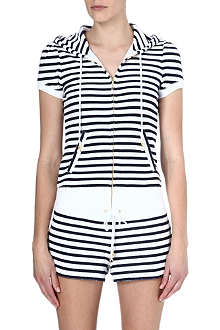 JUICY COUTURE Terry striped short-sleeved hoody